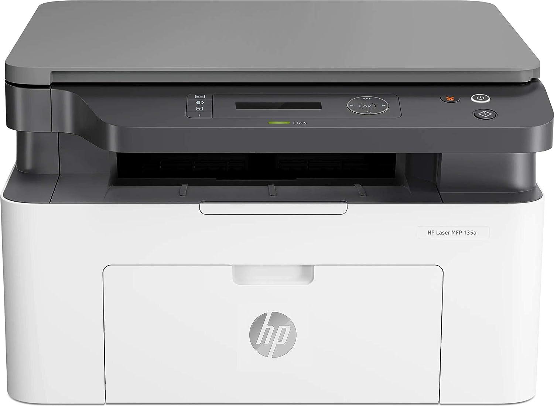 HP Laser MFP 135w - Impresora láser multifunción (imprime, copia y escanea, 20 ppm, LED, USB 2.0 de alta velocidad, WiFi), blanco
