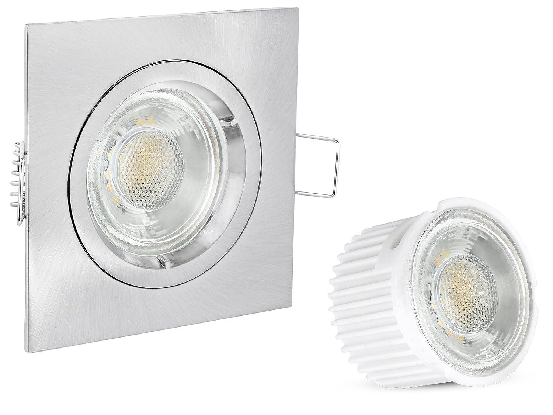 Linovum® 10er Set Decken Einbauleuchten flach (36mm) eckig starr Edelstahl Optik Einbaustrahler mit LED Module Keramik & Glas 230V 5W warmweiß