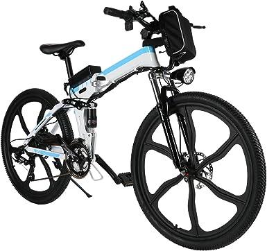 cooshional Bicicleta Plegable de Montaña con Batería de Iones de ...