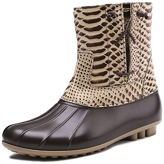Womens Waterproof PU Leather Brown Rain Boots