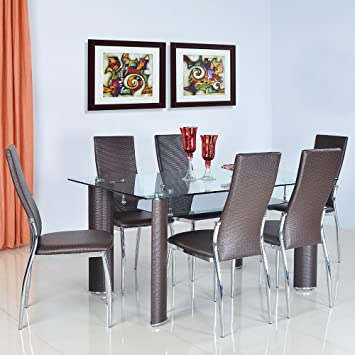 amazon dining table and chairs. @home by nilkamal bambino six seater dining table set (brown) amazon and chairs s
