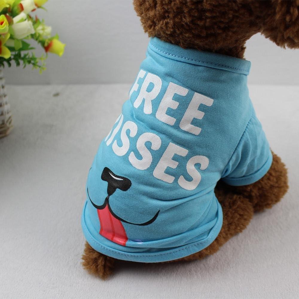 Doublehero Haustier Sommer Kurzarm T-Shirt Hund Gedruckt Pullover Weiches und Bequemes Hundekost/üm f/ür Kleine und Mittlere Hunde Katze Welpen