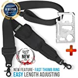 2 Point Rifle Sling + FAST LOOP -AR15- Quick Adjust Length with FINGER RING- Military Traditional ar 15 Gan Sling 2'' Extra Wide| Strong Metal Hooks | Easy ADJUSTABLE LENGTH