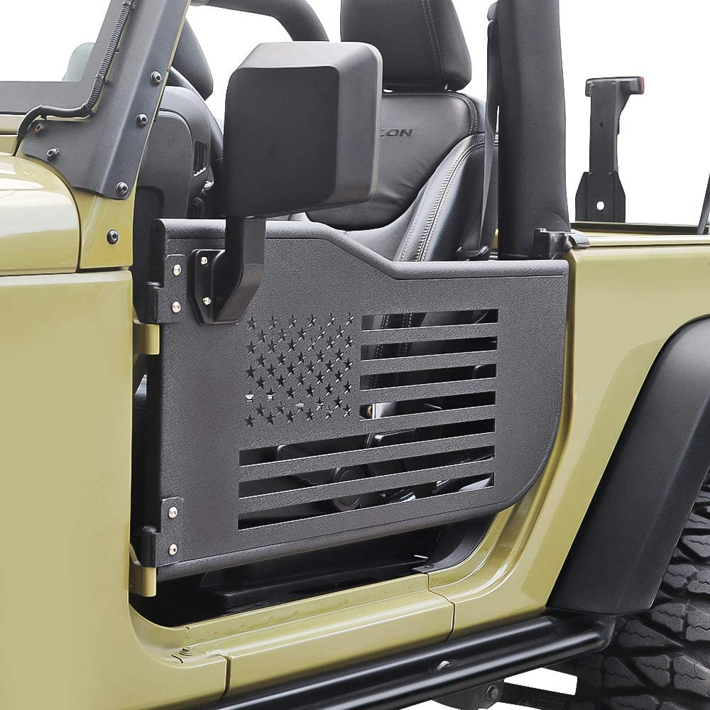 Front Tubular Door,Left /& Right Tubular Door,Guards Textured Black Spider for 2007-2018 Jeep Wrangler JK,JKU,Sport,Sahara Steel +Rust Proof Rubicon,Unlimited 2 Door