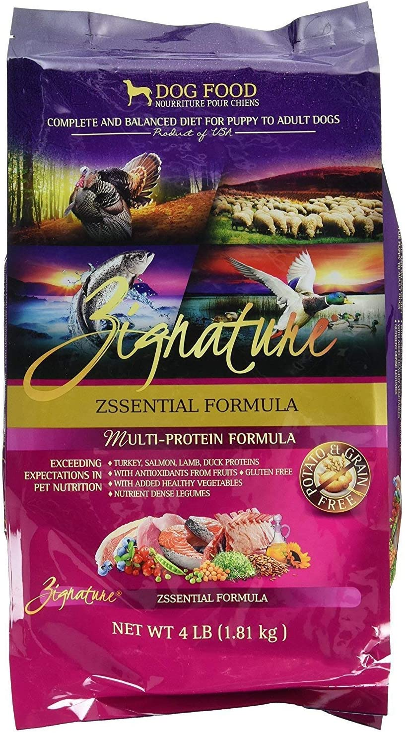 Zignature Zssentials Dry Dog Food Formula 4 lb. Bag, with Turkey, Lamb, Duck & Salmon. Fast Delivery. by Just Jak's Pet Market