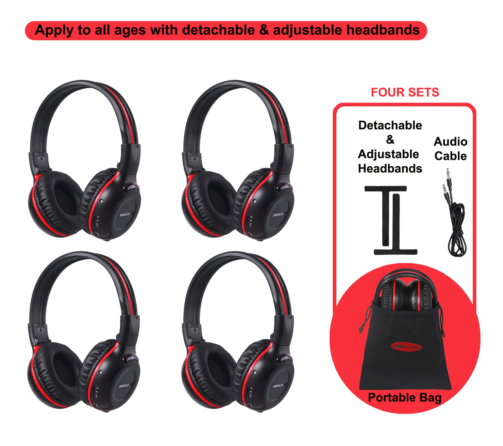 4 Pack of Vehicle Headphones, Support Car DVD Player, Car Headphones for Rear Entertainment System,Durable and Flexible for Kids, Wireless Infared Headphones with 3.5mm AUX Cable by SIMOLIO