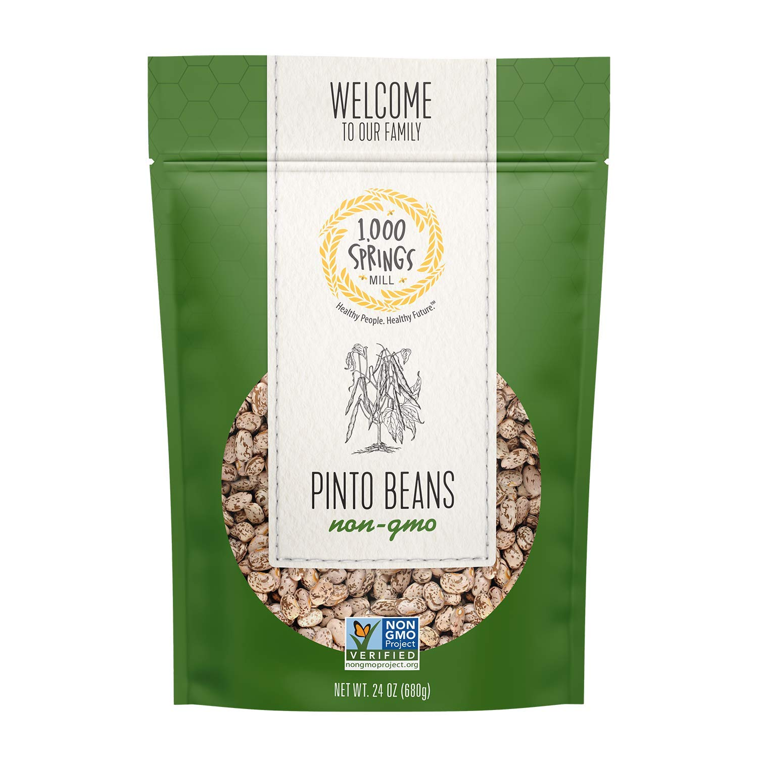 1000 Springs Mill - Non-GMO Pinto Beans | Used for Soups, Stews, Dips, Chili, Burritos, Refried Beans and more | Bulk Dry Brown Beans | Resealable Bag | Vegan Friendly | 24oz (Pack of 3)