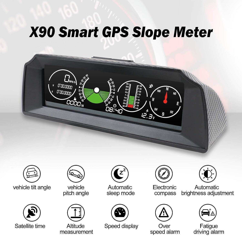 AUTOOL GPS Speed Slope Meter,Digital Inclinometer Level and Angle Gauge Bevel Gauge Tilt Gauge Finder Gauge Slope Meter with Compass for OBDII 12V Car//SUV//RV//Truck//Trailer Off-Road Vehicle