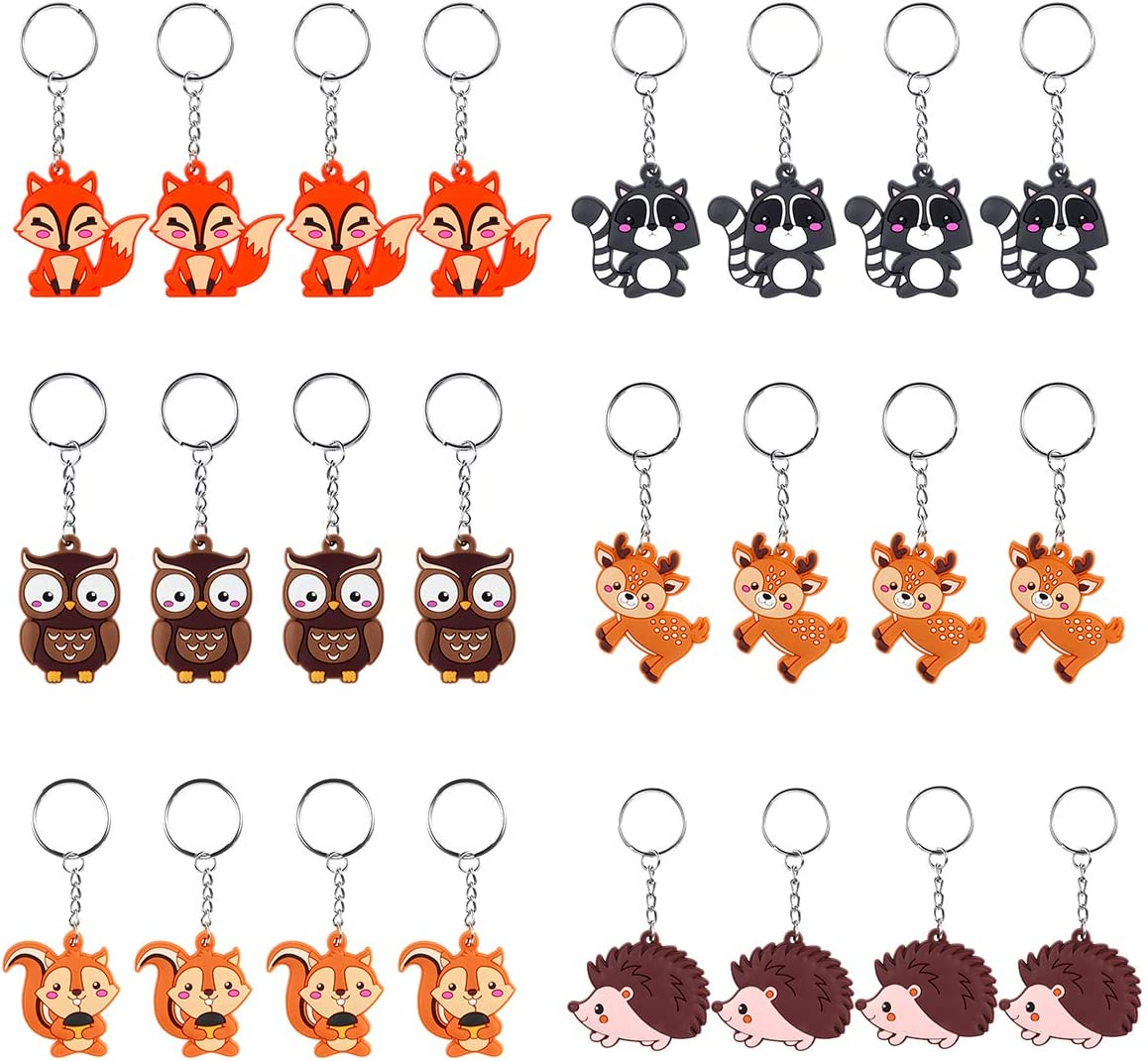 iMagitek 24 Pack Woodland Animal Keychains for Woodland Party Favors Supplies, Kids Party Bag Fillers, School Carnival Rewards, Woodland Baby Shower Party Favors