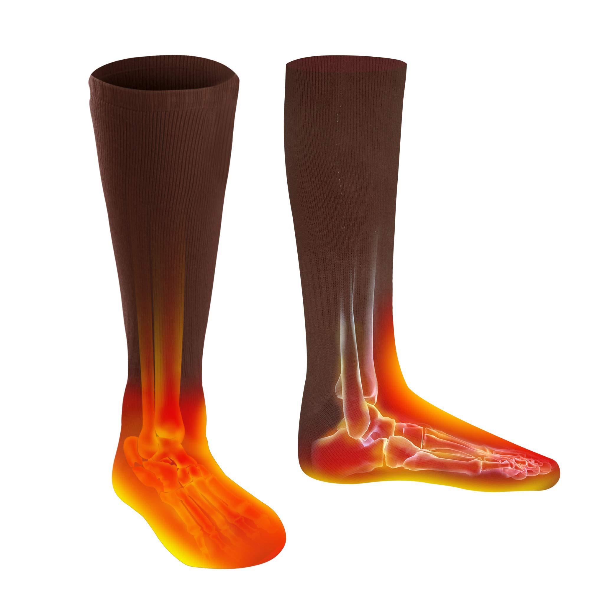 Men Women Socks Electric Socks Heated Socks for Chronically Cold Feet, Rechargeable Batteries Socks Hiking Socks Skiing Socks Socks(Brown) by Highting