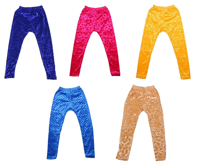 Indistar Kids Embossed Multicolor Leggings Combo Pack of 5