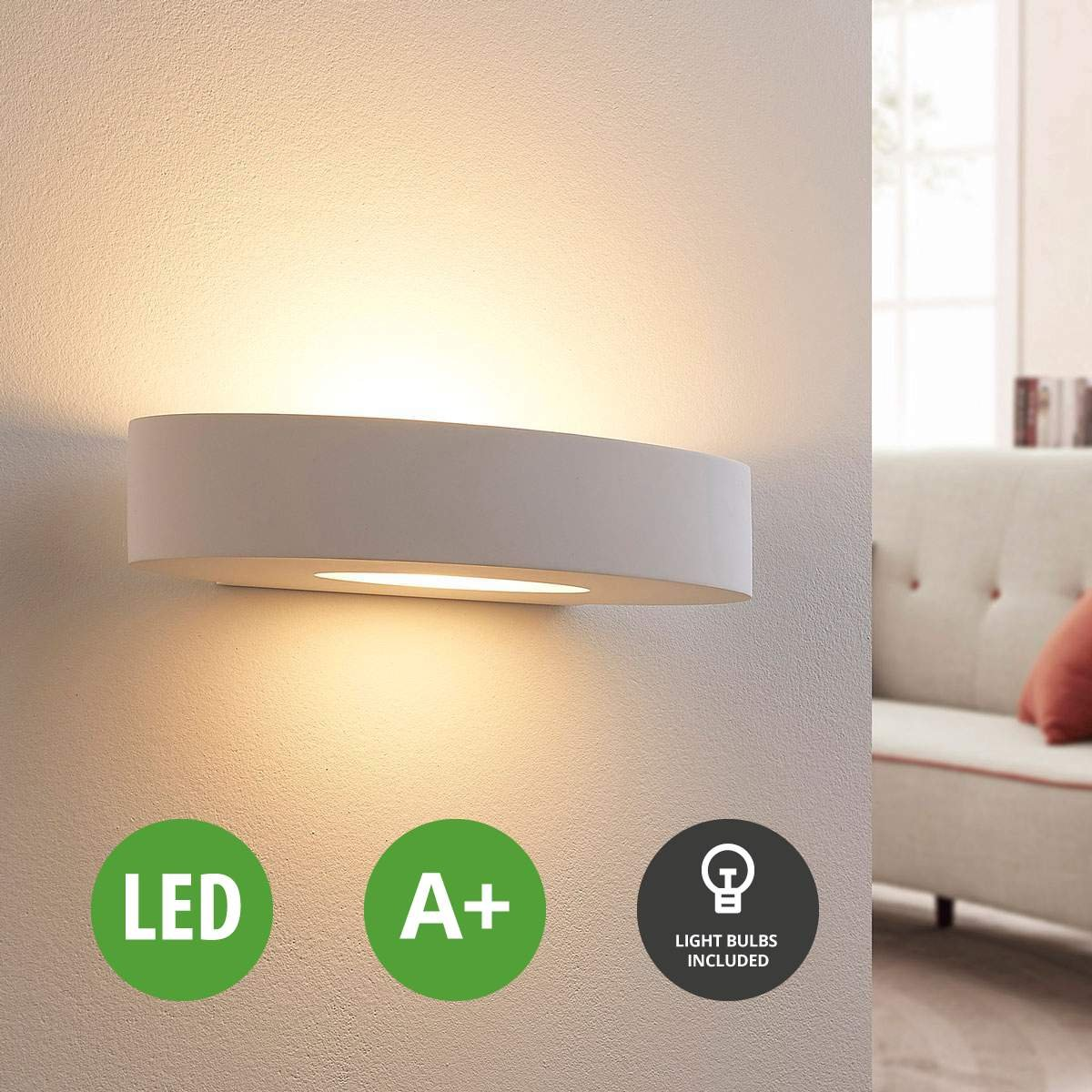 Lampenwelt LED Wandleuchte Rochus dimmbar (Modern) in Weiß aus Gips/Ton u.a. für Wohnzimmer & Esszimmer (1 flammig, G9, A+, inkl. Leuchtmittel) | LED-Wandlampe, Wandlampe, Licht nach oben unten, Wohnzimmerlampe [Energieklasse A+]
