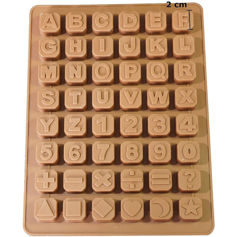 Savon professionnels 26lettres–Extra Stable de savon Moule en silicone Forme Moule à Chocolat Forme 34x 22,5x 2,5cm, Silicone, marron, Buchstaben 48
