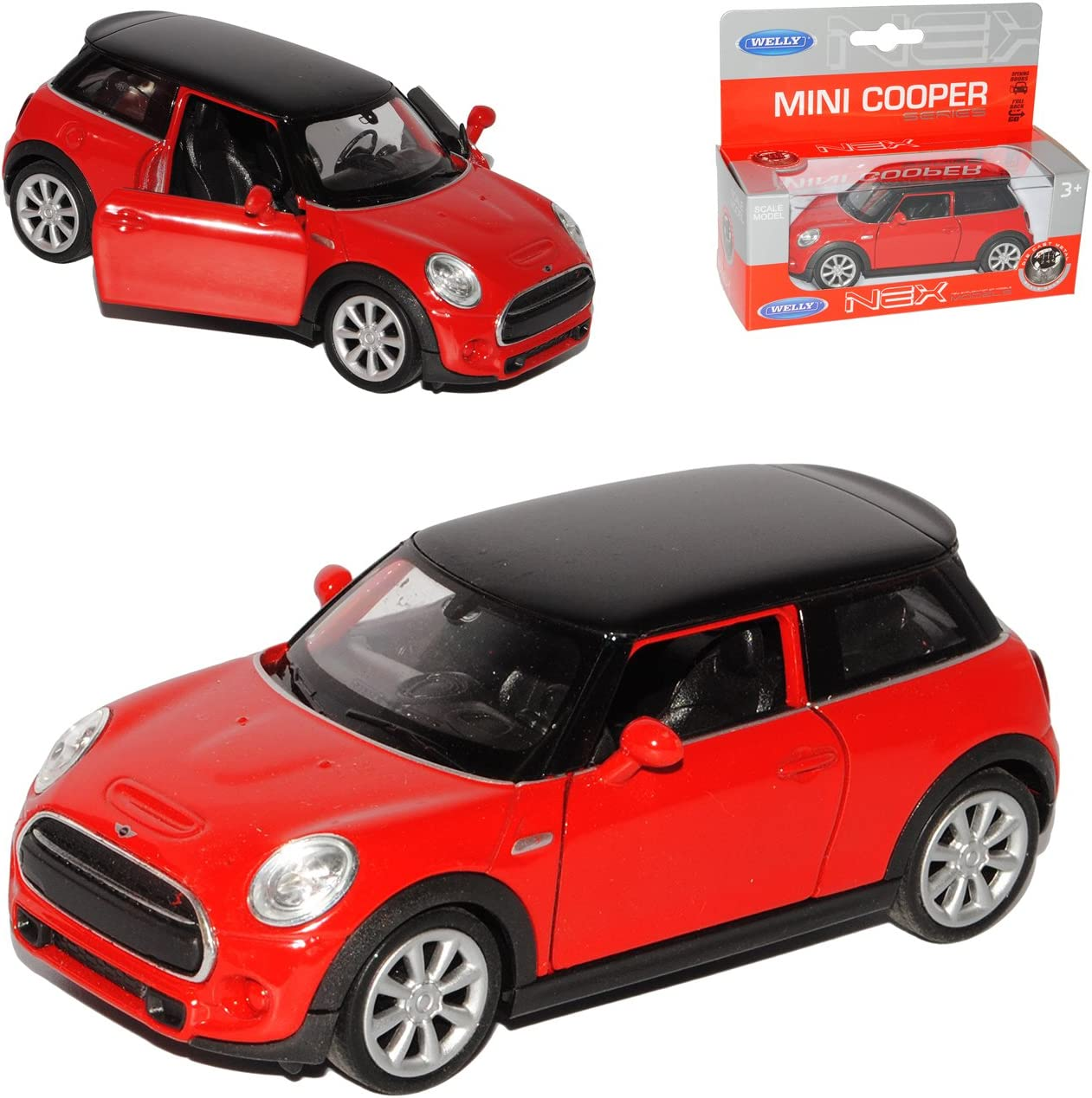 Mini Cooper S F56 New Hatch 3 Türer Rot Ab 2014 1//24 Welly Modell Auto mit ode..
