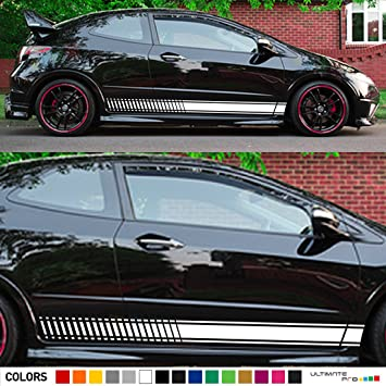 2x decal sticker vinyl side racing stripes compatible with honda civic fn2 type r gt 2006