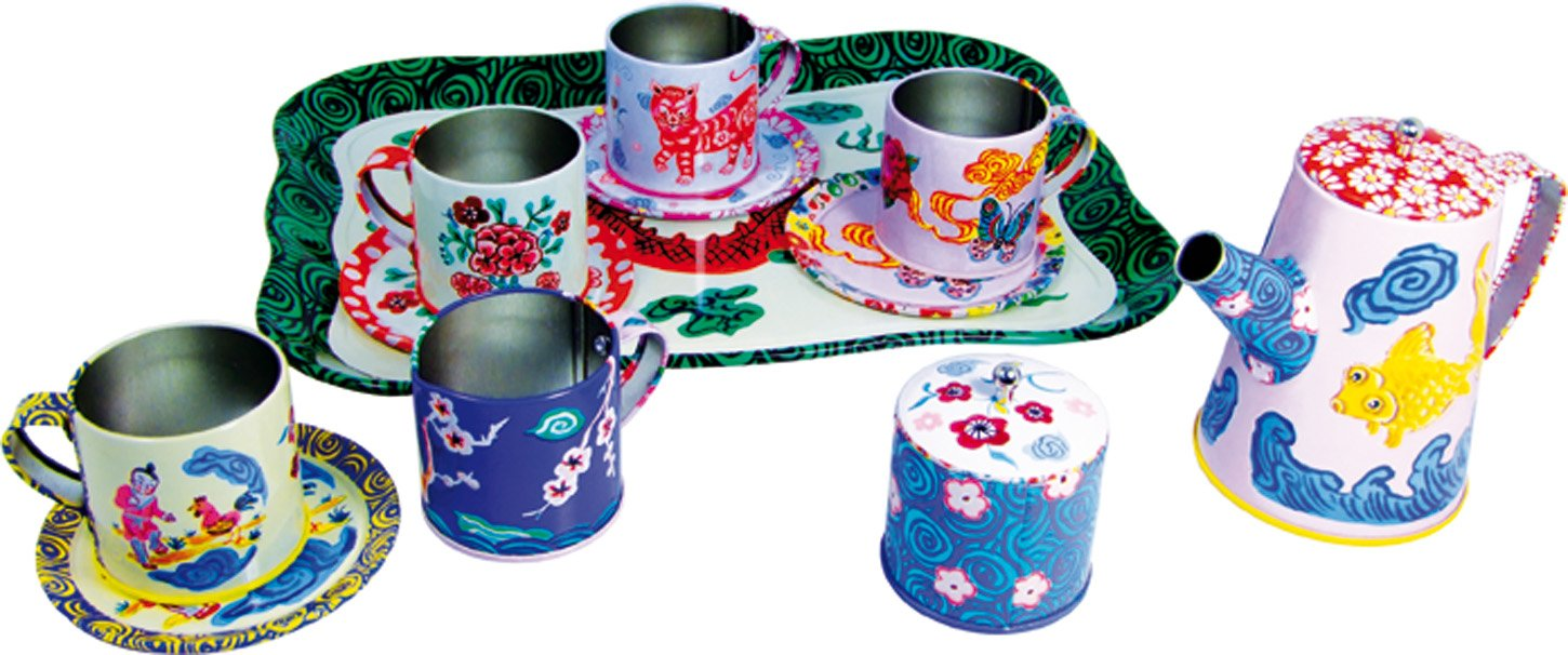 Vilac Dragon Tea Set by Nathalie Lete, Pink, 9 x 11.5 x 4.5 Inch