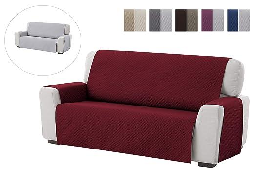 textil-home Funda Cubre Sofá Adele, 4 Plazas, Protector para Sofás Acolchado Reversible. Color Rojo