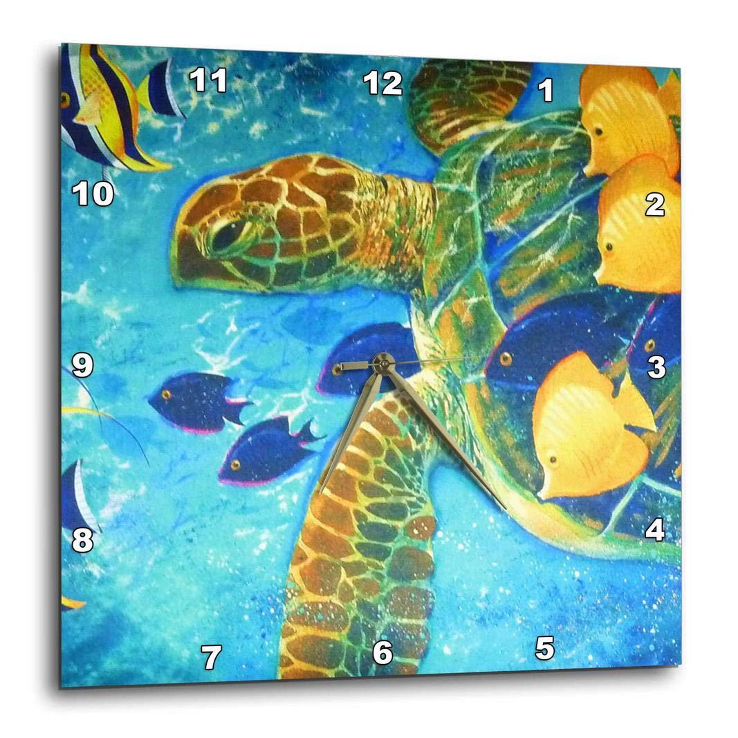 3dRose Turtle N Fish 10 by 10-Inch DPP/_43865/_1 Wall Clock