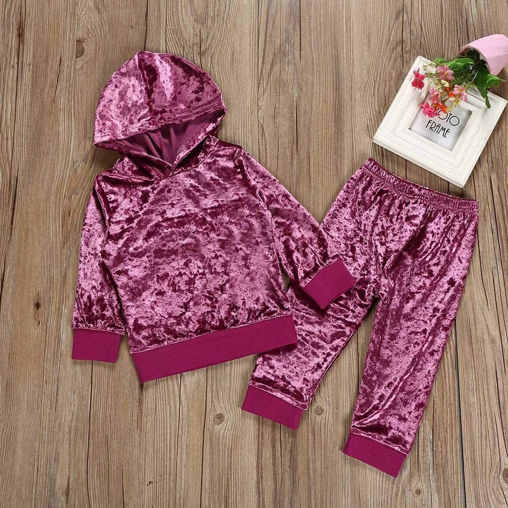 6M-4Y Flannel Pleuche Solid Color BURFLY Toddler Kids Baby Girl Boy Velvet Tracksuit Long Sleeve Side-Striped Pullover Tops /& Trousers Sportsuits Outfit Clothes Sets