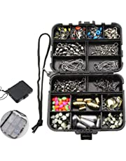 Mosodo 180 pics Fishing Accessories Box - Pocket Edition Lure Kit with Jig Hooks, Jig Lures, Treble Hooks, Sinker Slides, Ball Bearing Swivels, Barrel Snap Swivel, Fishing Weights, Sinkers, and More!