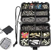 Mosodo 180 pics Fishing Accessories Box - Pocket Edition Lure Kit with Jig Hooks, Jig Lures, Treble Hooks, Sinker Slides…
