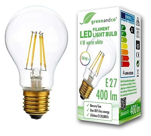 Bombilla de filamento LED greenandco® IRC 90+ E27 4W (corresponde a 35W)