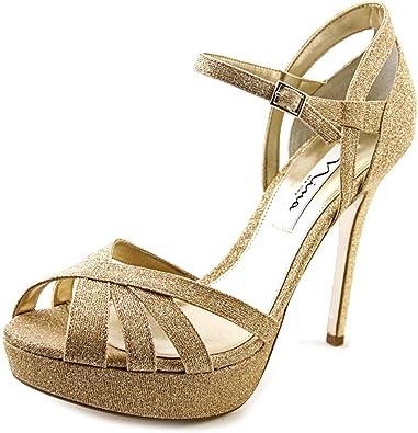 Nina Senora Women US 8.5 Gold Peep Toe