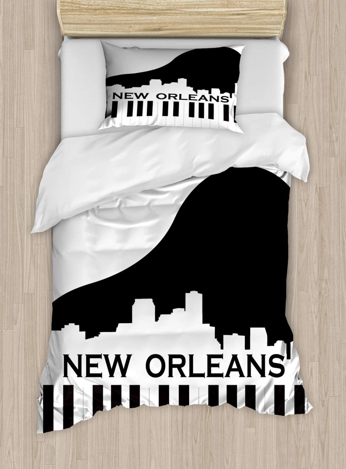 Ambesonne New Orleans Duvet Cover Set, City Silhouette on a Piano Jazz Capital of The United States of America, Decorative 2 Piece Bedding Set with 1 Pillow Sham, Twin Size, Black