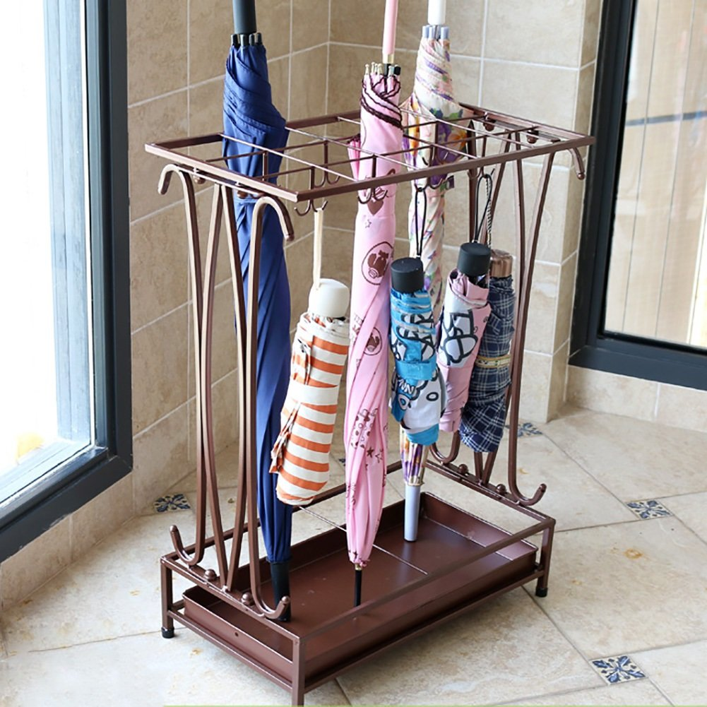 Umbrella Stands WSSF With Drip Tray/16 Hooks Iron Art Floor-standing Rain Gear Umbrella Storage Holder Rack Hotel Lobby Household Entrance Umbrella Shelf,442460cm (Color : Chocolate color)
