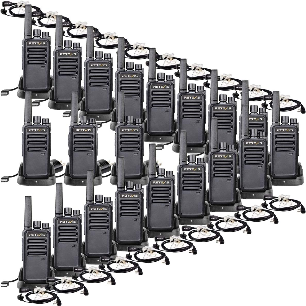 Case of 20,Retevis RT68 2 Way Radios Long Range 16 CH VOX Rechargeable Business Walkie Talkie