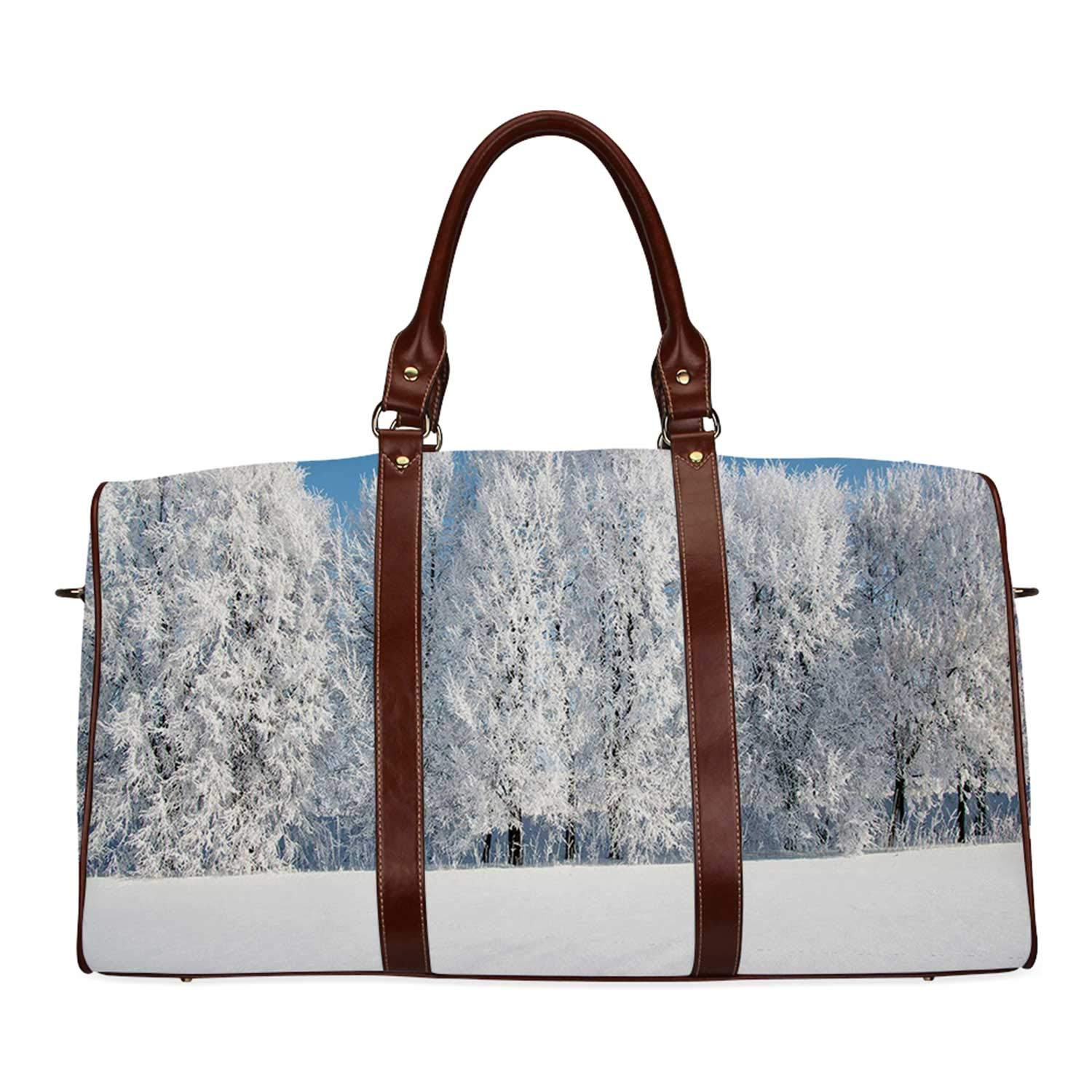 Winter Multi function Travel Bag,Frosted Trees in the Forest with Snowy Fields Cool Looking Seasonal Photography for Dating,18.62''L x 8.5''W x 9.65''H by YOLIYANA