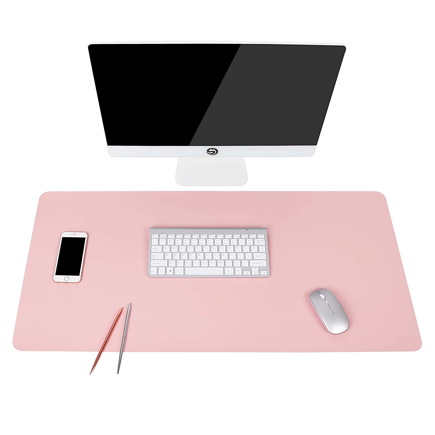 "Writing Desk Pad Protector, YSAGi Anti-Slip Thin Mousepad for Computers,Office Desk Accessories Laptop Waterproof Desk Protector for Office Decor and Home (Pink, 35.4"" x 17"")"