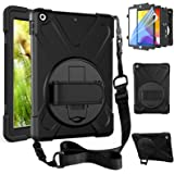 ZenRich New iPad 8th/7th Generation Case iPad10.2 Case 2020/2019 with Screen Protector Kickstand Hand Strap and Shoulder Stra