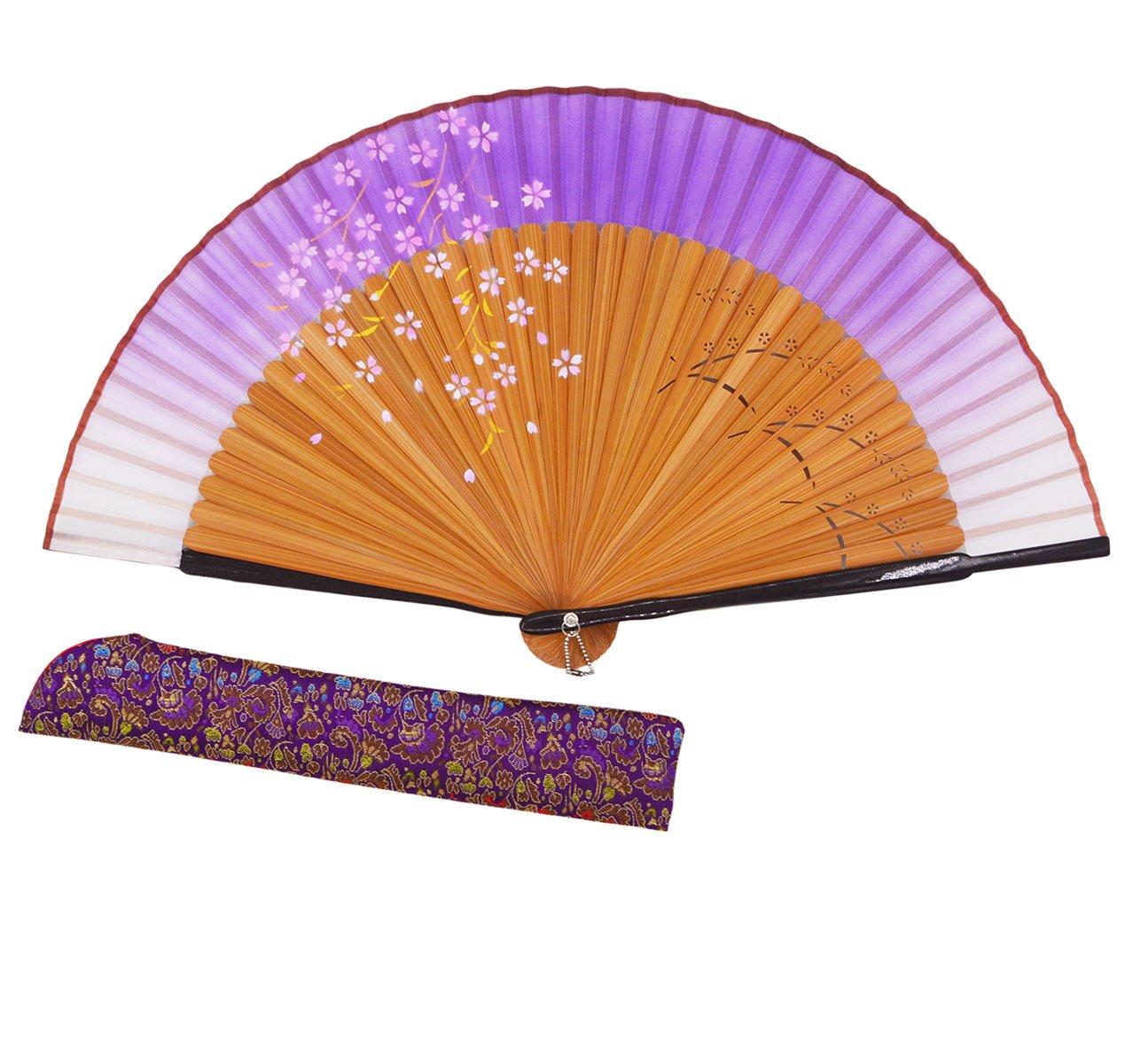 Meifan Chinese/Japanese Long Bamboo Leg Silk Folding Fans (Purple)