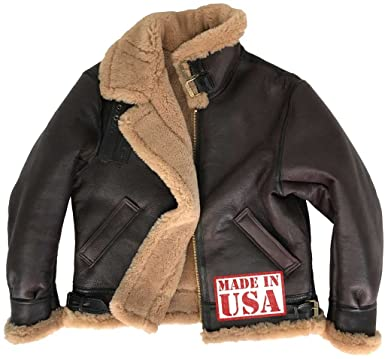 Cockpit Spitfire Genuine Tan Sheepskin (Shearling) B-3 Bomber Jacket Made in  USA 012d000f6