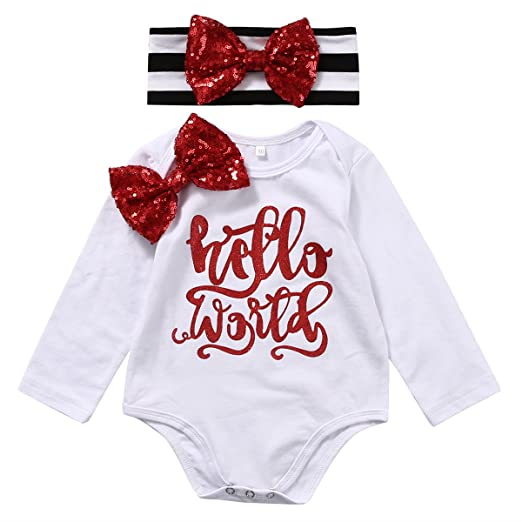 64d0fa7ca67 Zekyy 2pcs Newborn Baby Girls Hello World Sequins Bow Cotton  Romper+Headband Outfits Set Bodysuit