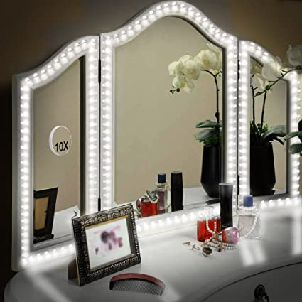 LUNSY LED Vanity Mirror Lights Kit For Makeup Dressing Table Set, 13ft/4M  Flexible