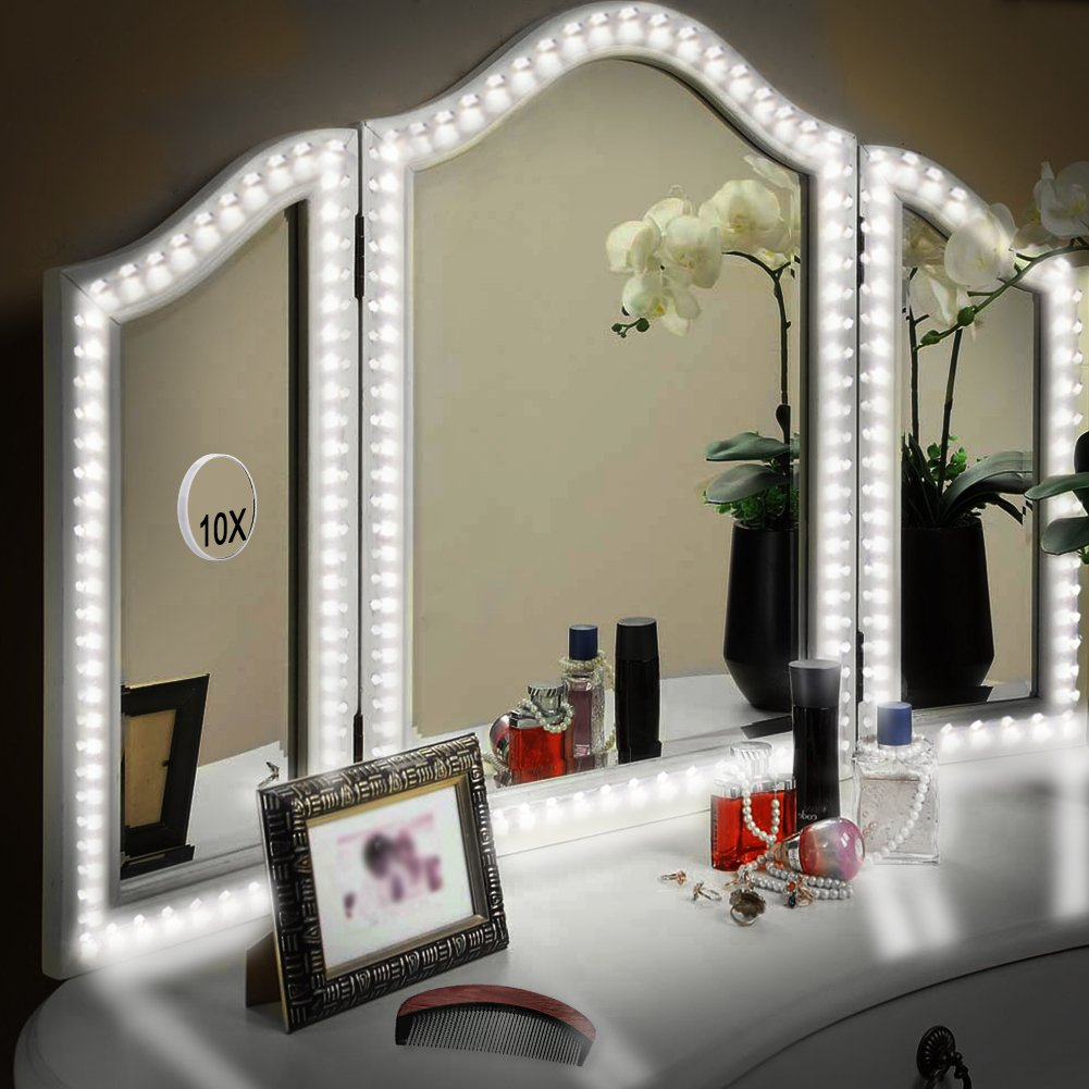 LUNSY LED Vanity Mirror Lights Kit for Makeup Dressing Table Set, 13ft/4M Flexible LED Vanity Light Strip, Daylight 6000K DIY Mirror Light with Dimmer and Power Supply, Mirror not Included