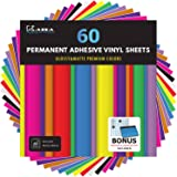 "Kassa Permanent Vinyl Sheets (Pack of 60, 12"" x 12"") - Includes Bonus Squeegee - Bundle of Assorted Colors (Matte…"