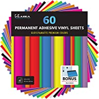 "Kassa Permanent Vinyl Sheets (Pack of 60, 12"" x 12"") - Includes Bonus Squeegee - Bundle of Assorted Colors (Matte…"