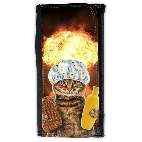 Cuero Original Sujetadora Tarjeta Crédito Identificación Dinero // Q05610643 Gato baño Hongo explosivo //