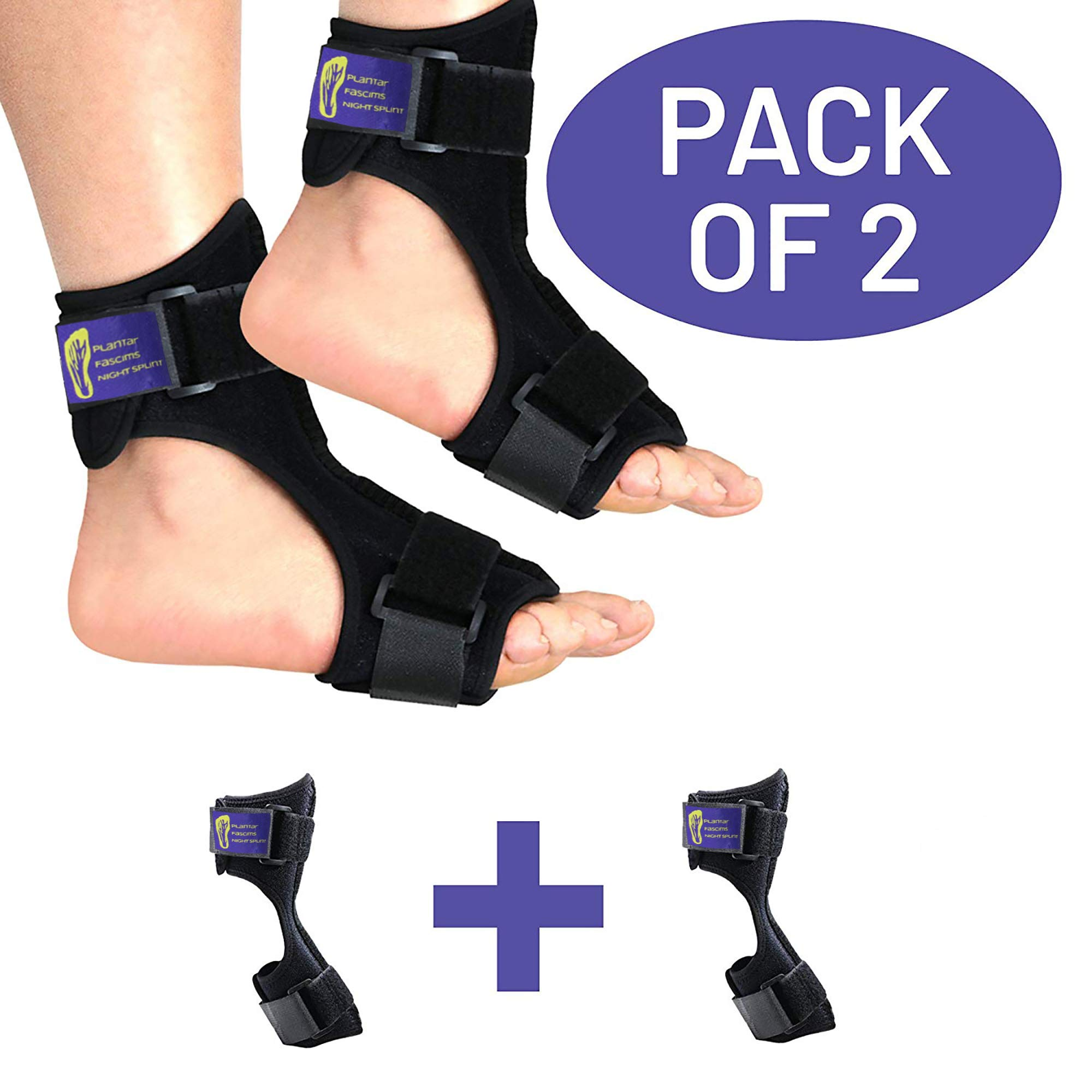 Pack of 2 - Everyday Medical - Plantar Fasciitis Night Splints for Both Feet - Plantar Fascia Pain Relief Sock- Stretching Support Boot Best for Achilles Tendonitis, Heel, Arch Foot Pain - L/XL by Everyday Medical