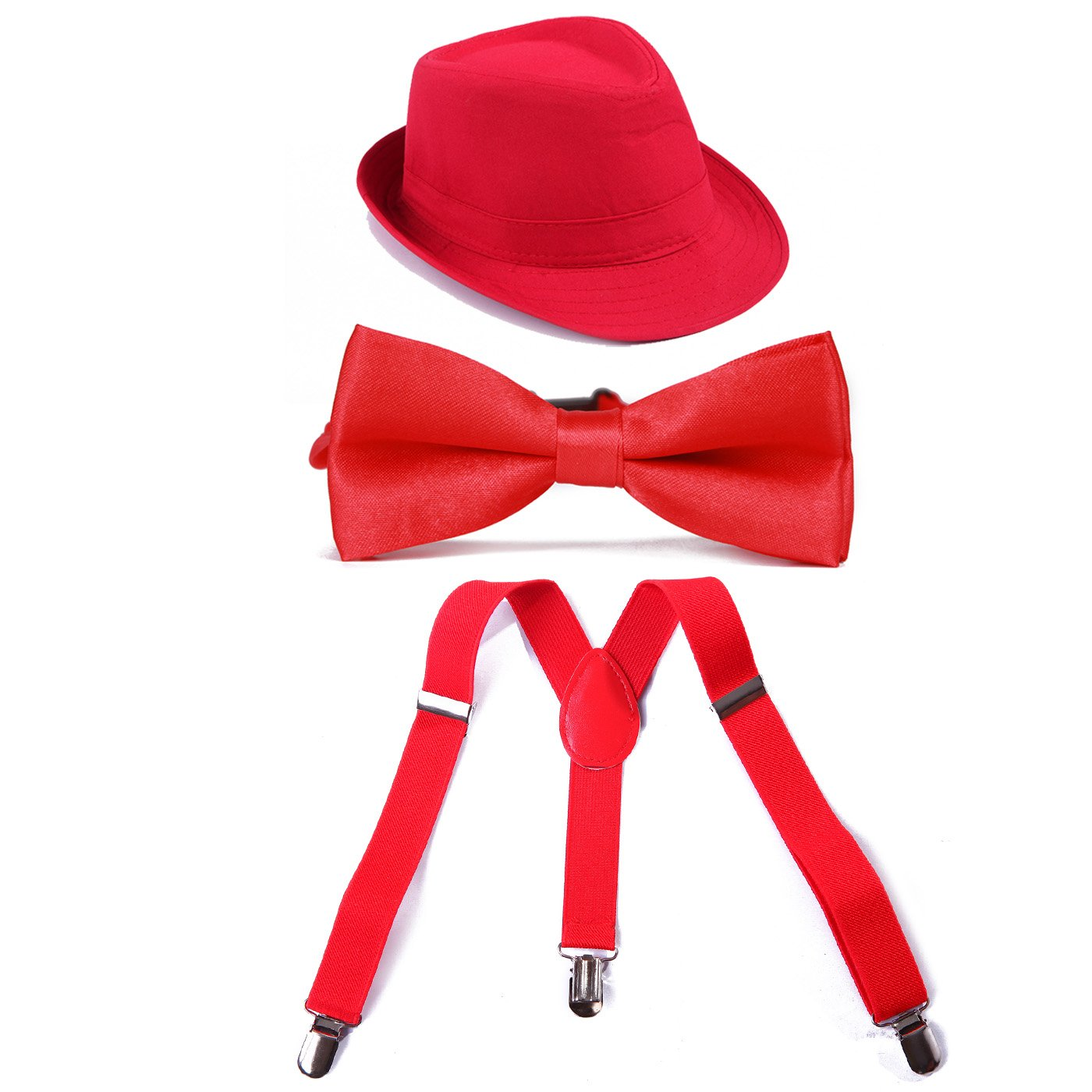 HDE Kids Boy Adjustable Y Back Suspenders + Pre Tied Bowtie + Trilby Fedora Hat