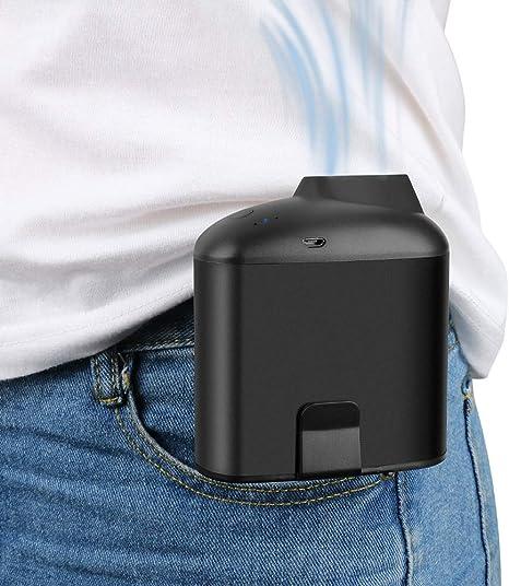 Fan Mini Hanging Waist Moving Fan USB Charging Summer Electric Fan Outdoor Personal Fan Mini Portable Cooling Fan Color : Black