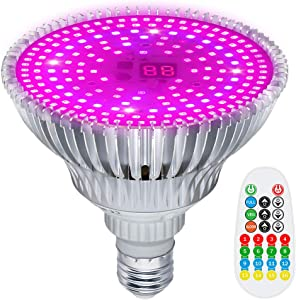 MZVUL LED Grow Light Bulb 100W, Timer Setting 186 LED Full Spectrum Plant Light Bulb with 3 Modes Auto On/Off Grow Lights for Indoor Plants Garden Flowers Vegetables Greenhouse Hydroponic Growing