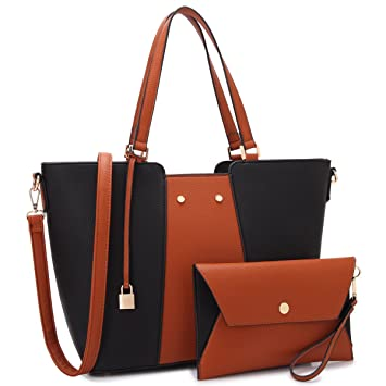 Amazon.com  MK Belted collection Fashion Hobo Handbag for Women~2 PCS  Women s BROWN Tote Bag Satchel Handbag Shoulder Bags W coin purse  (Black Brown)  Marco ... faa5a7d1492ab