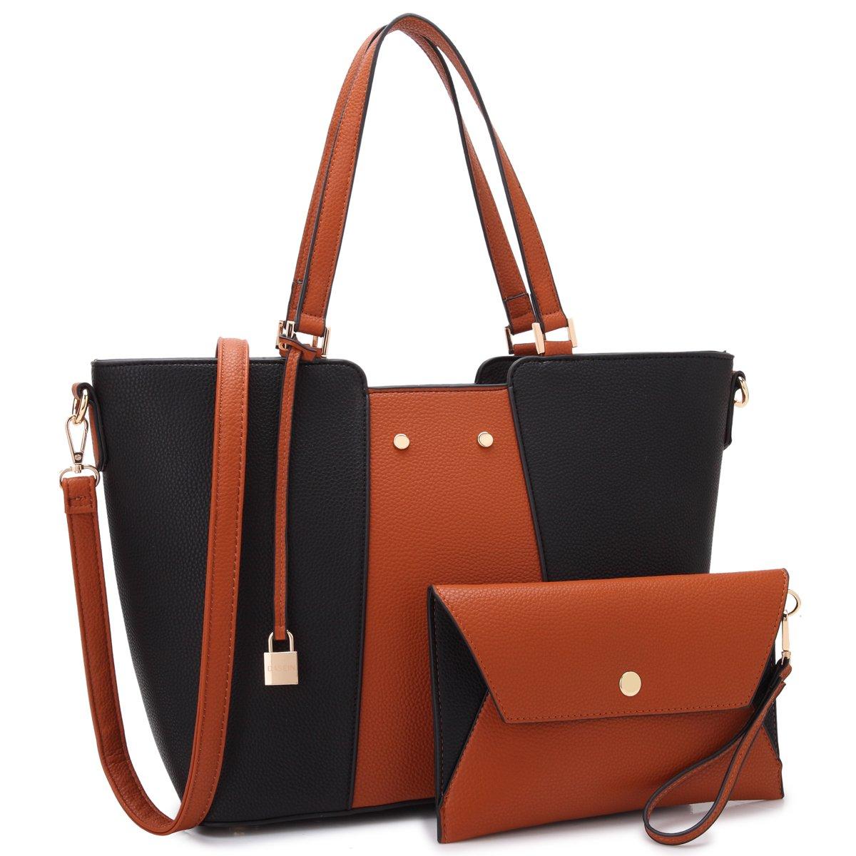 Women Large Designer Laptop Tote Bag Two Tone Handbag Work Tote Bag Satchel Purse w/Matching Wallet (Black/Brown)