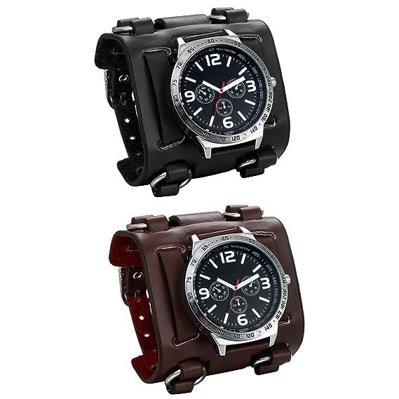 jewelrywe Reloj de Pulsera para Hombre jóvenes Pulsera Plata/Negro Pulsera de Piel Ancha Paquete de 2: Amazon.es: Relojes