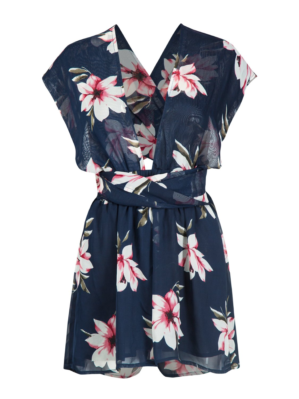 Choies Women's Different Style Cross/Halter Straps Jumpsuit Romper,Floral Beach Rompers S