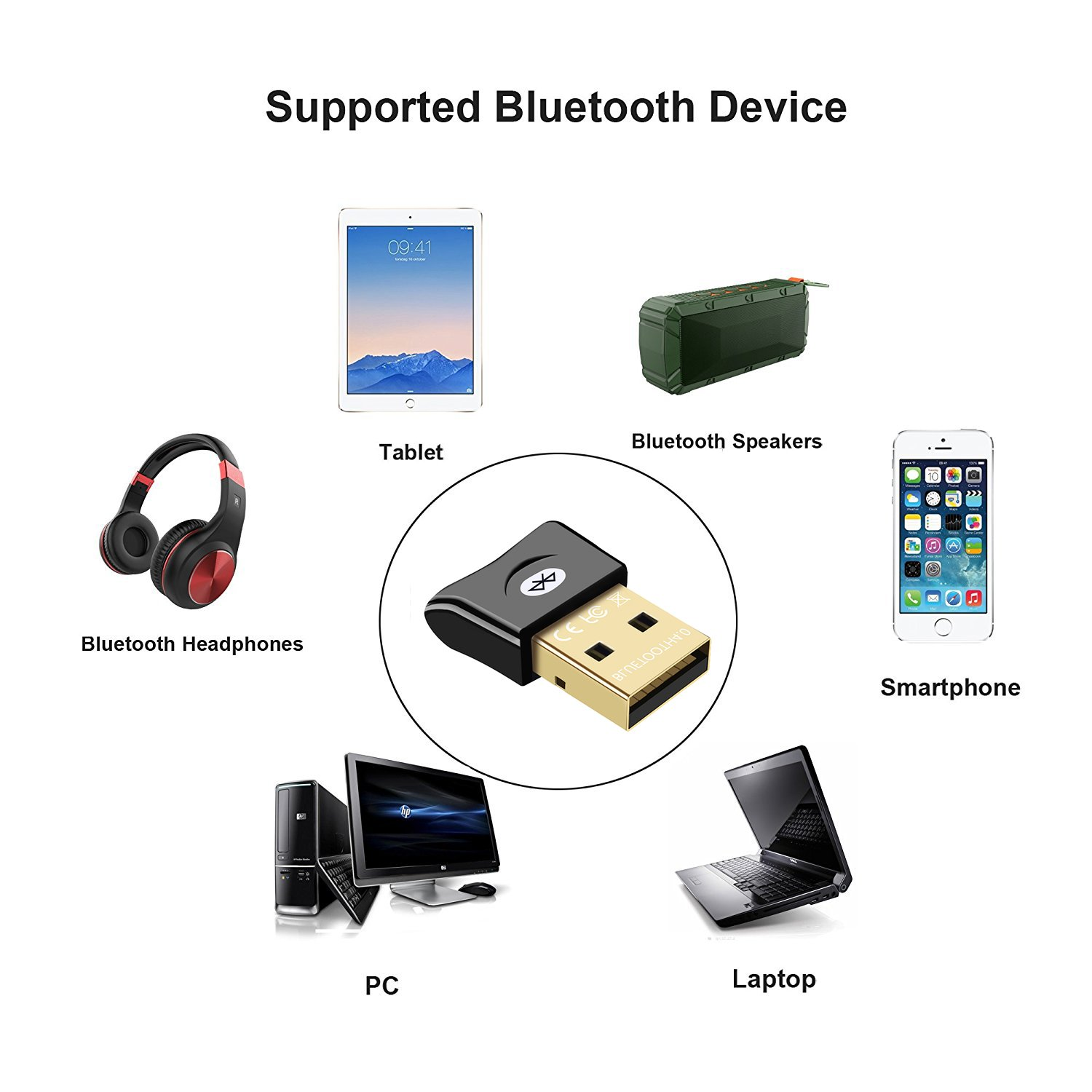 Bluetooth Adapter for PC USB Dongle ZTESY CSR 4.0 Bluetooth Receiver Wireless Transfer for Stereo Headphones Laptop Windows XP/7/8/10/Vista Compatible by ZTESY (Image #3)